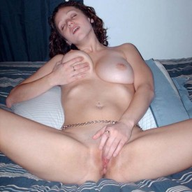 Busty ex-girlfriend strips naked in bed 8