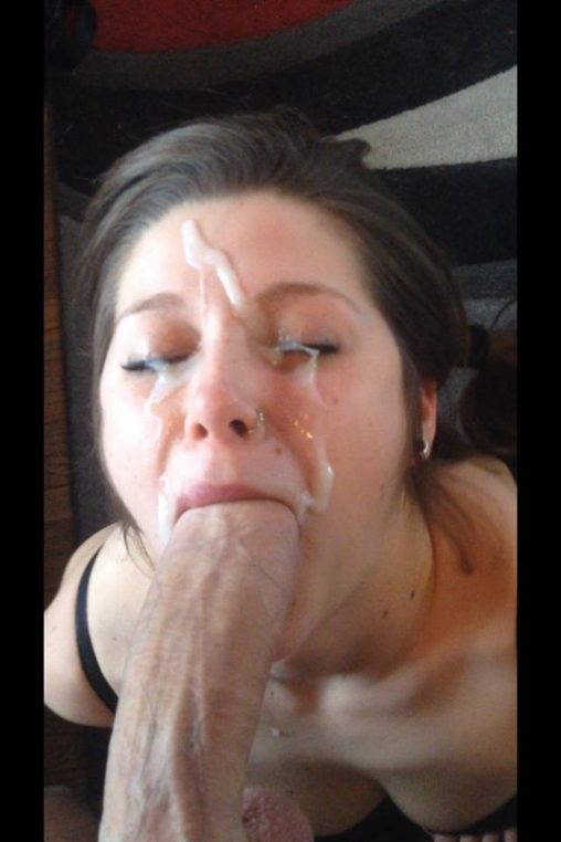 He convinces her to blow him in the dressing room & to take a big facial&excl